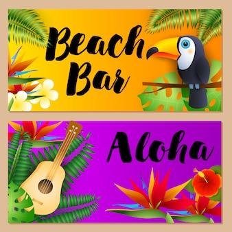 Beach bar, conjunto de letras aloha, tucano e ukulele