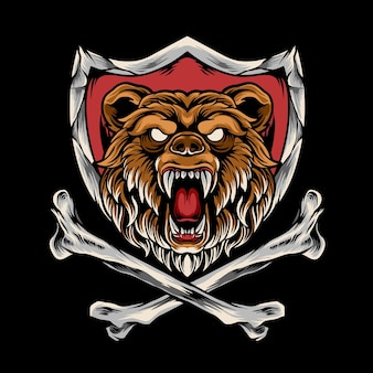 Bear com osso cruzado e escudo