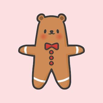 Bear gingerbread cookie christmas mão desenhada cartoon estilo