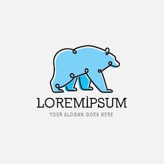Bear line logotipo monoline simples