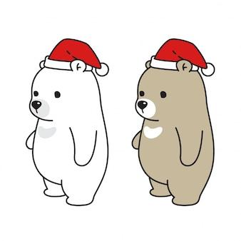 Bear polar bear personagem de desenho animado de chapéu de natal