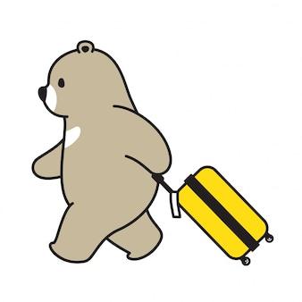 Bear polar bear personagem de desenho animado de saco de viagem