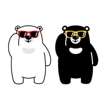 Bear polar bear personagem de desenho de óculos de sol