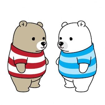 Bear polar bear shirt listras personagem de desenho animado