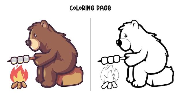 Bear roasting marshmallow