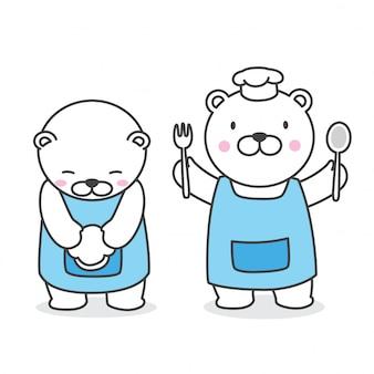 Bear vector desenhos animados de chef de urso polar