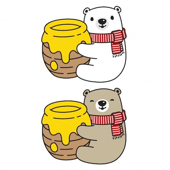 Bear vector polar bear personagem de desenho animado de abelha mel