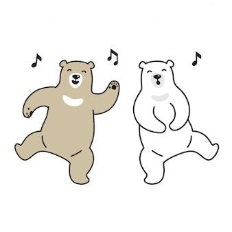 Bear vector urso polar dançando cartoon de música cantando