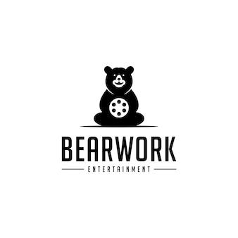 Bear with roll film trabalho movie cinema production logo design
