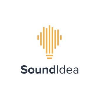 Beat sound music com lâmpada simples, elegante, criativo, geométrico, moderno, logotipo