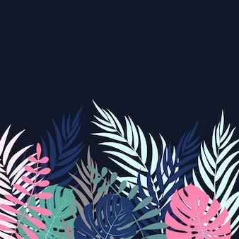 Beautifil fundo de silhueta de folha de árvore de palma