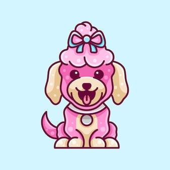 Beauty poodle dog para ícone de personagem etiqueta do logotipo e ilustração