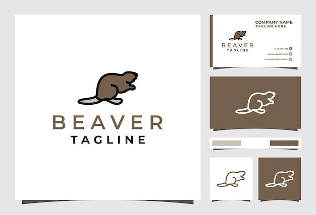 Beaver line logo design animal premium vector