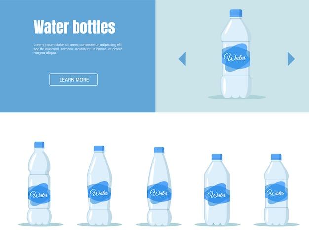Beba água em conjunto de garrafa de plástico. bandeira de serviço de entrega de água horizontal definir estilo de design plano de indústria de negócios logísticos.