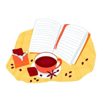 Beba café, bebida de chá com chocolate, humor acolhedor, ler livro e relaxar comer doces fatia doce isolado no branco, ilustração dos desenhos animados.