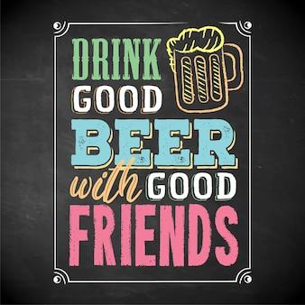 Beba cerveja com cartaz de banner de amigos
