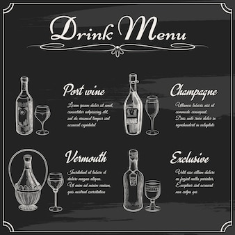 Beba elementos do menu na lousa. quadro de restaurante para desenho. ilustração em vetor menu quadro-negro desenhado à mão