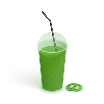 Beba em copo de plástico transparente com tampa e palha. batido com kiwi. bebida, ilustração realista sobre fundo branco.