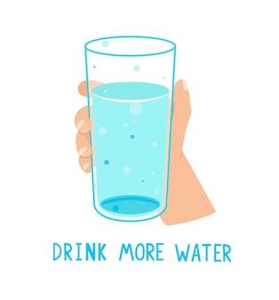 Beba mais água, chamando banner com copo cheio d'água Vetor Premium