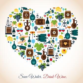 Beba vinho economize ícones decorativos de água ilustração vetorial coração