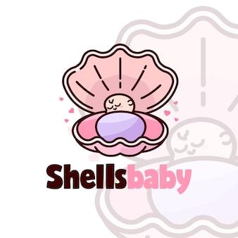 Bebê adorável dormindo no logotipo dos desenhos animados de shells