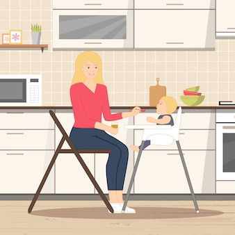 Bebê, alimentação, em, cozinha