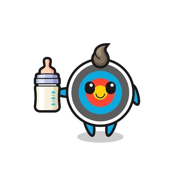 Bebê alvo de tiro com arco, personagem de desenho animado com garrafa de leite, design de estilo fofo para camiseta, adesivo, elemento de logotipo