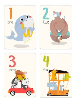 Bebê aprendendo cartões com animais. educacional para crianças. número um a quatro com animais. animais fofos, viajando de carro.