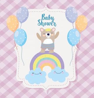 Bebê arco-íris urso bonito nuvens nuvens balões cartão dos desenhos animados