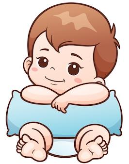 Bebê bonito dos desenhos animados com travesseiro