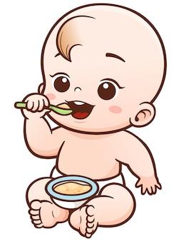 Bebê bonito dos desenhos animados que come