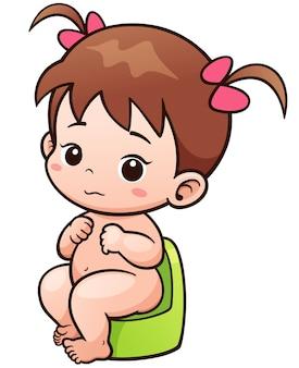Bebê bonito dos desenhos animados sentado no penico