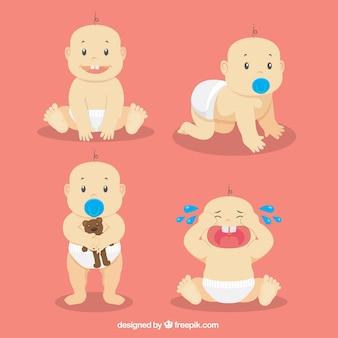 Bebê bonito em diferentes momentos