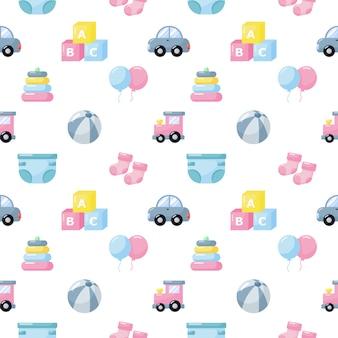 Bebê brinquedos e roupas ícones padrão sem emenda. itens recém-nascidos em fundo branco.