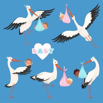 Bebê cegonha voadora, entrega de pássaros recém-nascidos bonitos crianças carregam caracteres de cegonha isolados