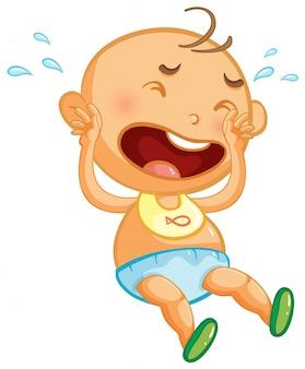 Bebê chorando no fundo branco