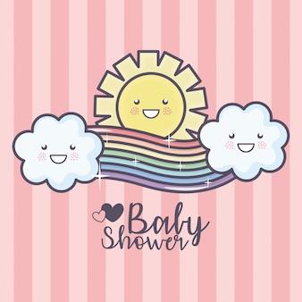 Bebê chuveiro cartoon arco-íris nuvens sol céu rosa listras fundo