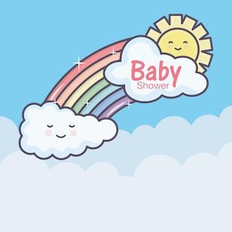 Bebê chuveiro cartoon arco íris nuvens sol céu
