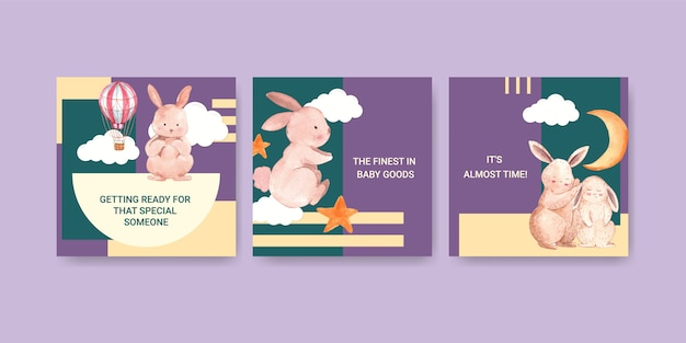 Bebê chuveiro design cartão ilustração aquarela