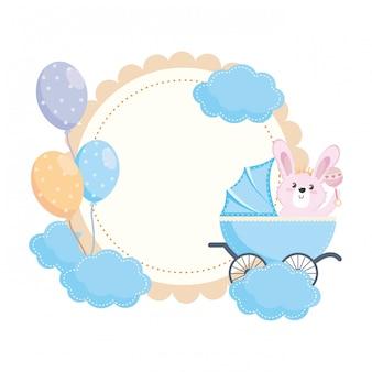 Bebê chuveiro, símbolo, e, coelho