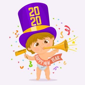 Bebê com festão de ano novo sob confete