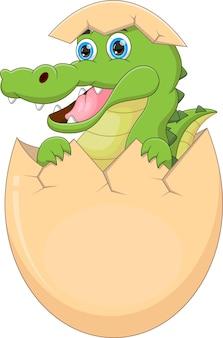 Bebê crocodilo de desenho animado saindo do ovo Vetor Premium