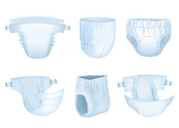 Bebê de fraldas. fraldas de crianças recém-nascidas de limpeza suave para o vetor de proteção de urina de material absorvente de xixi em camadas realista. fralda e proteção para bebês de ilustração, confortável para crianças