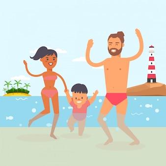 Bebê de passeio na estância de verão, água clara do oceano, ilustração. família jovem com criança dando seus primeiros passos na água.