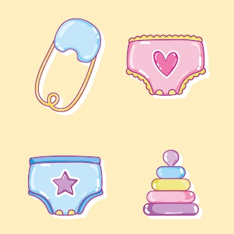 Bebê desenhos animados coleção ilustração vetorial design gráfico