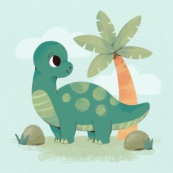 Bebê dinossauro adorável pintado à mão em aquarela