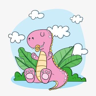 Bebê dinossauro desenhado à mão ilustrado