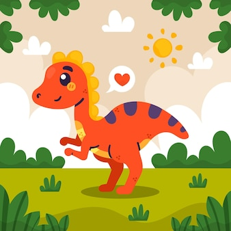 Bebê dinossauro desenhado à mão