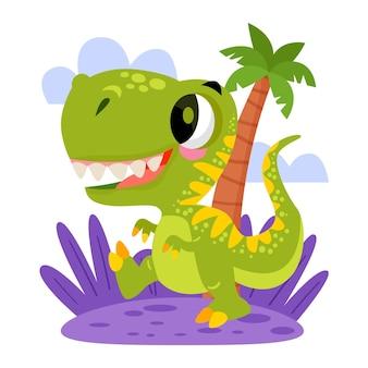 Bebê dinossauro desenhado ilustrado