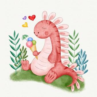Bebê dinossauro fofo pintado à mão em aquarela